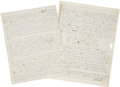 "Autographs:Authors, Sir Walter Scott Autograph Letter Signed ""God Bless you my good friend, Walter Scott"". Three pages, 7.75"" x 10"", Novembe..."