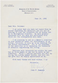 "Autographs:U.S. Presidents, John F. Kennedy Typed Letter Signed ""John Kennedy"" as U.S.congressman. One page, 6.25"" x 9"", June 16, 1952, Washington,..."
