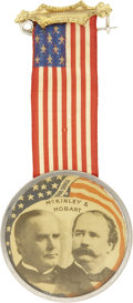 Political:Ribbons & Badges, McKinley & Hobart: Unusual Colorful Celluloid 1896 Jugate Campaign Badge....
