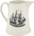 Antiques:Decorative Americana, Patriotic Liverpool Creamware: A Massive Pitcher in A Most UnusualStyle. ...