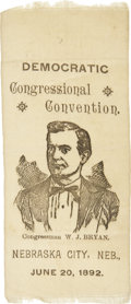 Political:Ribbons & Badges, William Jennings Bryan: Rare 1892 Democratic Congressional Convention Ribbon....