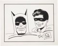 Original Comic Art:Sketches, Bob Kane Batman and Robin Sketch Original Art (undated)....