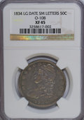 Bust Half Dollars: , 1834 50C Large Date, Small Letters XF45 NGC. O-108. PCGS Population(32/221). (#6165)...