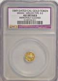 California Gold Charms, 1849-Dated California Gold Token--Improperly Cleaned--NCS. AU Details. Indian, Wreath Type....