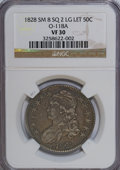 Bust Half Dollars: , 1828 50C Square Base 2, Small 8, Large Letters VF30 NGC. O-118A.PCGS Population (10/272). (#6151)...