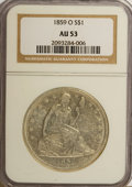 Seated Dollars: , 1859-O $1 AU53 NGC. NGC Census: (26/333). PCGS Population (22/455).Mintage: 360,000. Numismedia Wsl. Price for NGC/PCGS co...