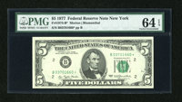 Fr. 1974-B* $5 1977 Federal Reserve Note. PMG Choice Uncirculated 64 EPQ