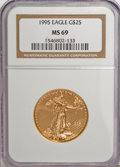 Modern Bullion Coins: , 1995 G$25 Half-Ounce Gold Eagle MS69 NGC. NGC Census: (917/15).PCGS Population (432/0). Mintage: 53,474. Numismedia Wsl. P...