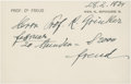 """Autographs:Inventors, Sigmund Freud Autograph Document Signed. """"freud"""". One page, 5.25"""" x 3.5"""", Vienna, Feb. 28, 1934, on a correspondence car..."""