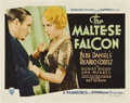 "Movie Posters:Crime, The Maltese Falcon (Warner Brothers, 1931). Title Lobby Card (11"" X 14"").. ..."