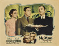 """Movie Posters:Comedy, My Man Godfrey (Universal, 1936). Autographed Lobby Card (11"""" X14"""").. ..."""