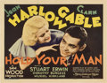 "Movie Posters:Drama, Hold Your Man (MGM, 1933). Title Lobby Card (11"" X 14"").. ..."