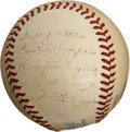 Autographs:Baseballs, 1940's Joe DiMaggio Single Signed Baseball to Ramfis Trujillo....