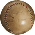 Autographs:Baseballs, Circa 1927 Lou Gehrig and Miller Huggins Signed Baseball....