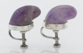 Silver Smalls:Other , A PAIR OF MEXICAN SILVER AND AMETHYST QUARTZ EARRINGS. Makerunknown, circa 1940. Marks: WS, SPRATLING, MDE INMEXICO,... (Total: 2 Items)