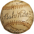 Autographs:Baseballs, 1938 Brooklyn Dodgers Team Signed Baseball with Babe Ruth....