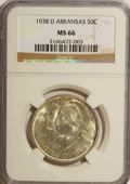 Commemorative Silver: , 1938-D 50C Arkansas MS66 NGC. NGC Census: (43/26). PCGS Population(106/17). Mintage: 3,155. Numismedia Wsl. Price for NGC/...