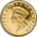 Proof Gold Dollars, 1887 G$1 PR64 Deep Cameo PCGS. CAC....
