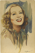 Pin-up and Glamour Art, ELMOR BROWN (American 1899 - 1968). Greta Garbo. Watercoloron board. 9 x 6 in.. Signed lower right. ...