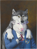 Mainstream Illustration, DON IVAN PUNCHATZ (American b. 1936). Sheep in Wolf'sClothing. Mixed-media on board. 15 x 11 in.. Signed lower left....