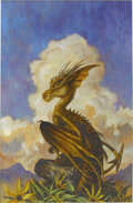 Pulp, Pulp-like, Digests, and Paperback Art, BOB EGGLETON (American b. 1960). A Familiar Dragon, paperbackcover, 1997. Oil on board. 20 x 13 in.. Signed lower left...