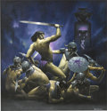 Pulp, Pulp-like, Digests, and Paperback Art, LES EDWARDS (American b. 1949). Conan the Triumphant, c.1985. Oil on board. 20 x 20 in.. Signed lower right. ... (Total: 2Items)