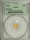 California Fractional Gold, 1876 25C Indian Round 25 Cents, BG-879, R.4, MS65 PCGS....