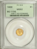 California Fractional Gold, 1869 $1 Liberty Octagonal 1 Dollar, BG-1106, High R.4, MS62PCGS....
