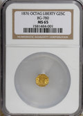 California Fractional Gold: , 1876 25C Liberty Octagonal 25 Cents, BG-780, R.4, MS65 NGC. NGCCensus: (3/0). (#10607)...