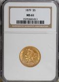 Liberty Half Eagles: , 1879 $5 MS61 NGC. NGC Census: (97/121). PCGS Population (38/74).Mintage: 301,950. Numismedia Wsl. Price for NGC/PCGS coin ...