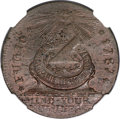 Colonials, 1787 1C Fugio Cent, STATES UNITED, 4 Cinquefoils, Pointed Rays MS62 Brown NGC....