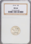Barber Dimes: , 1914 10C MS66 NGC. NGC Census: (30/1). PCGS Population (51/5). Mintage: 17,360,656. Numismedia Wsl. Price for NGC/PCGS coin...