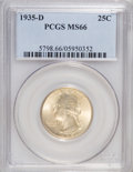 Washington Quarters: , 1935-D 25C MS66 PCGS. PCGS Population (155/12). NGC Census:(74/11). Mintage: 5,780,000. Numismedia Wsl. Price for NGC/PCGS...