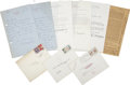 Miscellaneous:Ephemera, W. Somerset Maugham. Six Items, Including Three Autograph LettersSigned, Two Typed Letters Signed, and One Printed Page Annot...(Total: 6 Items)