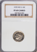 Proof Roosevelt Dimes: , 1970 10C No S PR69 Cameo NGC. NGC Census: (10/0). PCGS Population(2/0). Numismedia Wsl. Price for NGC/PCGS coin in PR69: ...