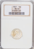 Bust Dimes: , 1827 10C MS65 NGC. NGC Census: (24/7). PCGS Population (8/2).Mintage: 1,300,000. Numismedia Wsl. Price for NGC/PCGS coin i...