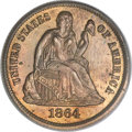 Patterns, 1864 10C Ten Cents, Judd-381, Pollock-449, R.7, PR65 Red and Brown PCGS....