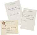 Miscellaneous:Ephemera, W. Somerset Maugham. Two Autograph Quotations Signed and One SignedProgram.... (Total: 3 Items)