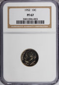 Proof Roosevelt Dimes: , 1952 10C PR67 NGC. NGC Census: (233/130). PCGS Population (360/29).Mintage: 81,980. Numismedia Wsl. Price for NGC/PCGS coi...