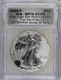 Modern Bullion Coins, 2006-P $1 Silver Eagle 20th Anniversary RP70 Deep Cameo NGC. First Day of Issue ICG Certified #0169 of 1975. NGC Census: (0...