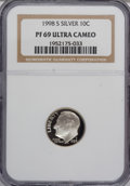 Proof Roosevelt Dimes: , 1998-S 10C Silver PR69 Ultra Cameo NGC. NGC Census: (574/262). PCGSPopulation (1981/70). Numismedia Wsl. Price for NGC/PC...