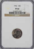 Proof Roosevelt Dimes: , 1952 10C PR66 NGC. NGC Census: (173/363). PCGS Population(538/389). Mintage: 81,980. Numismedia Wsl. Price for NGC/PCGSco...