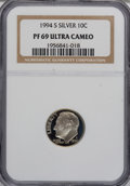 Proof Roosevelt Dimes: , 1994-S 10C Silver PR69 Ultra Cameo NGC. PCGS Population (1804/47).Numismedia Wsl. Price for NGC/PCGS c...