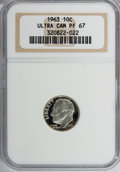 Proof Roosevelt Dimes, 1963 10C PF 67 Ultra Cameo NGC. NGC Census: (229/0). PCGSPopulation (34/0). Mintage: 123,600,000. Numismedia Wsl. Pric...