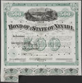 Miscellaneous:Other, Bonds of the State of Nevada $500 1872; $1000 1871. ... (Total: 2items)