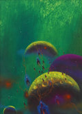 Pulp, Pulp-like, Digests, and Paperback Art, PAUL LEHR (American 1930 - 1998). Science fiction bookcover. Acrylic on board. 15.5 x 11 in.. Not signed. ...