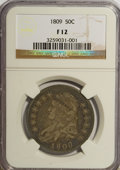Bust Half Dollars, 1809 50C Normal Edge F12 NGC. NGC Census: (5/415). PCGS Population(9/405). Mintage: 1,405,810. Numismedia Wsl. Price for N...