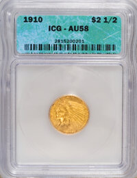 1910 $2 1/2 AU58 ICG. NGC Census: (710/5330). PCGS Population (573/2240). Mintage: 492,000. Numismedia Wsl. Price for NG...