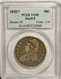 Bust Half Dollars: , 1818/7 50C Small 8 VG8 PCGS. PCGS Population (2/104). NGC Census:(2/1484). Numismedia Wsl. Price for NGC/PCGS coin in VG8...