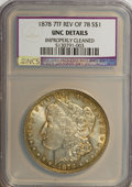 Morgan Dollars: , 1878 7TF $1 Reverse of 1878--Improperly Cleaned--NCS. UNC Details. NGC Census: (99/8650). PCGS Population (52/7198). Mintag...